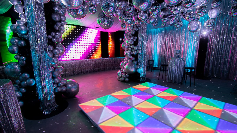 Silver 70s disco party