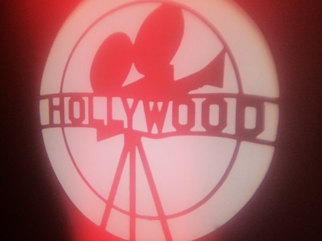 Hollywood lighting projection on a wall