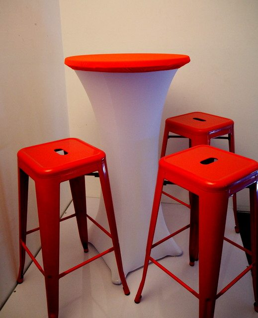 Top Table Cover with Bar table Cover (White) - Red Bar Stools