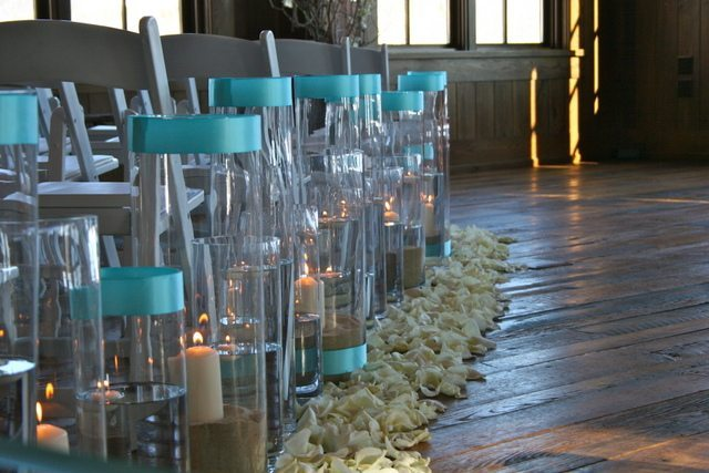 Tall Round Vases with ribbon