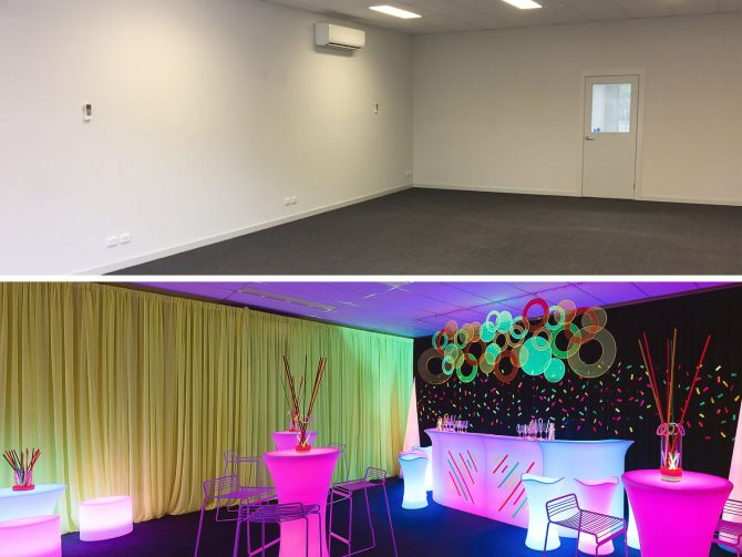 Chiffon Drape Before & After drape hire melbourne
