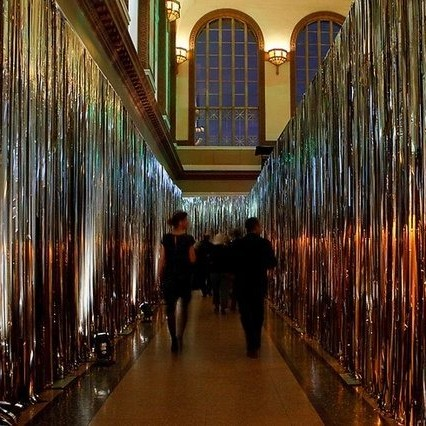 silver tinsel curtain