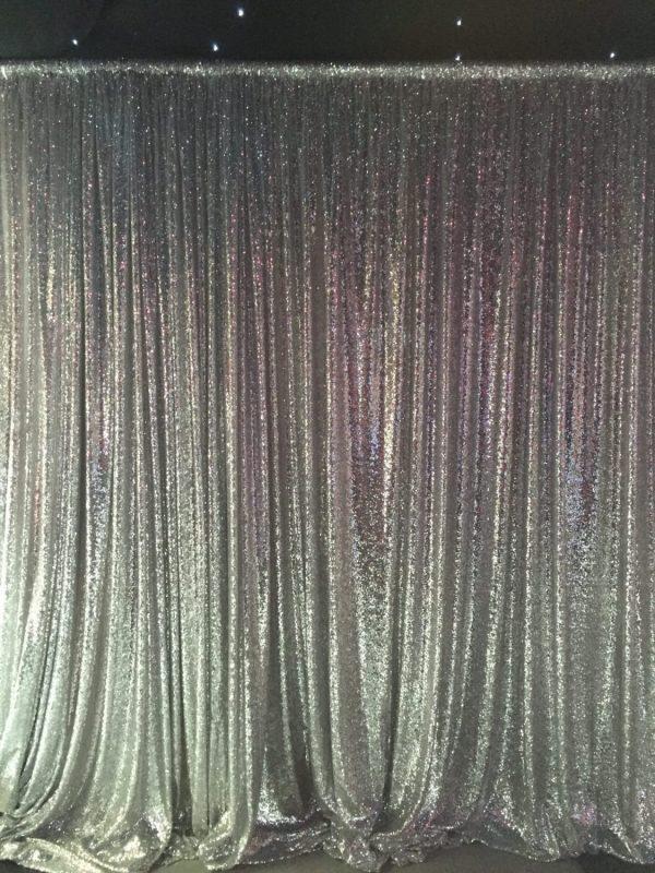 sequin drape silver hire