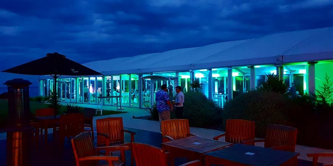 marquee lighting in green and blue