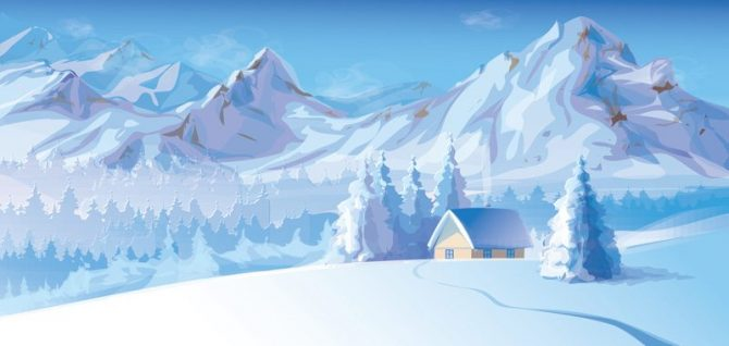 Large Backdrop - Snowy Mountains