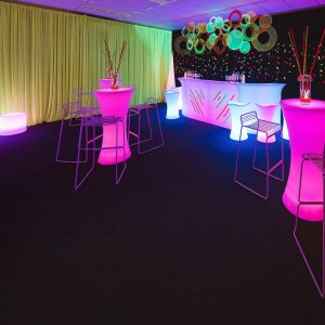 Bar setup for neon themed party melbourne