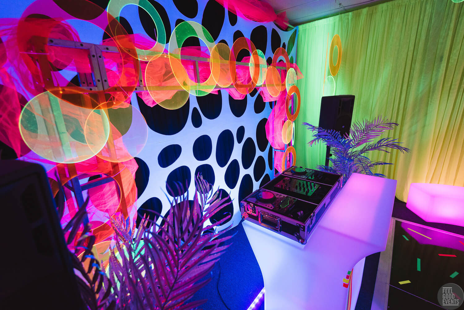 Behind The DJ Booth at a Neon Themed Birthday Hire Melbourne