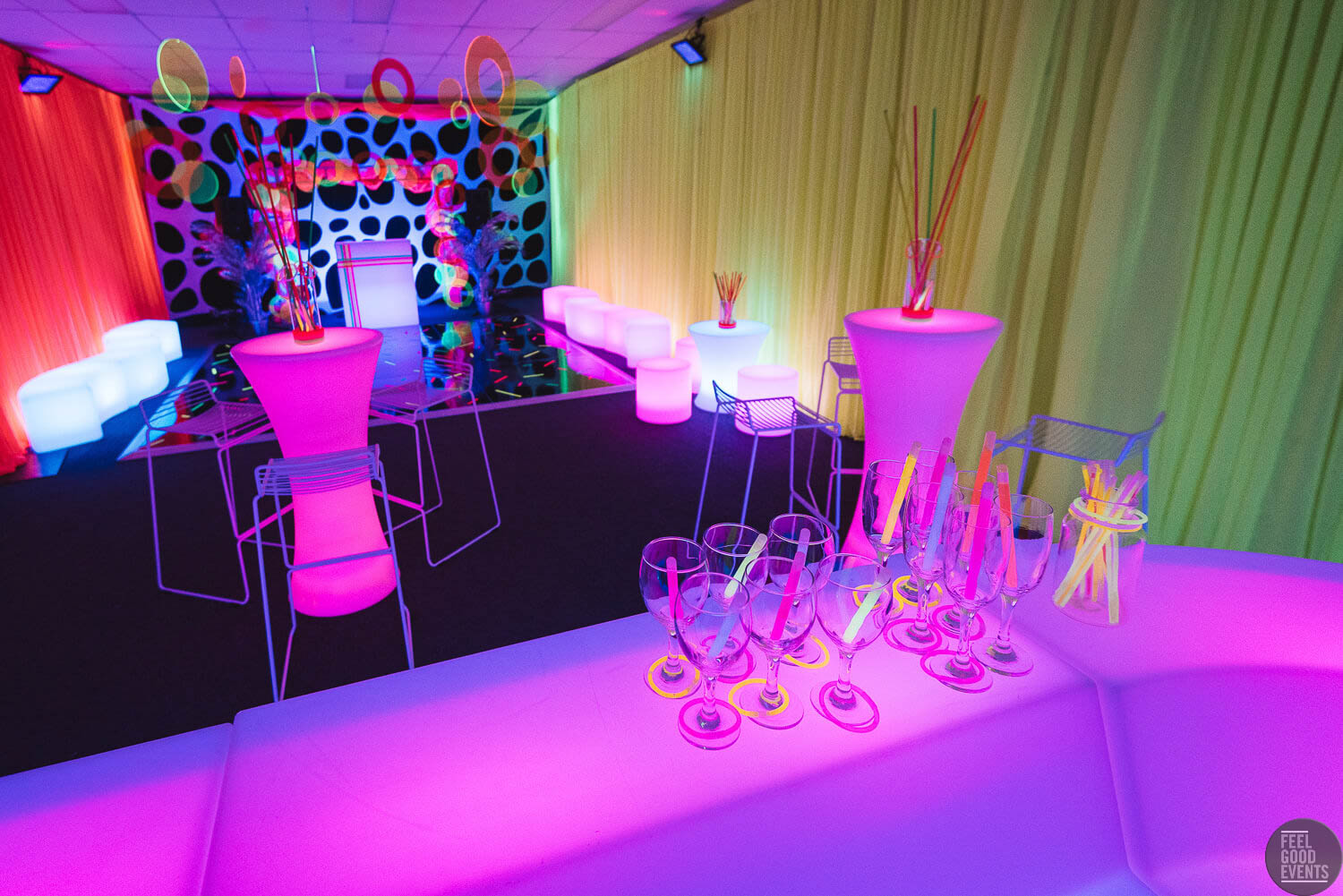 Behind the Bar at a glow themed event hire Melbourne