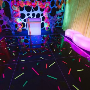 Black Dance Floor In Fluro Theme Event Hire Melbourne