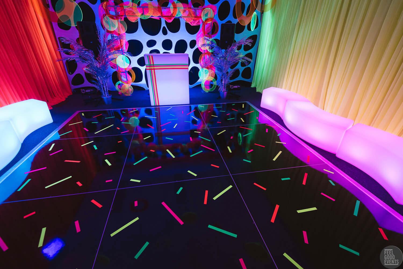 Black Dance Floor In Fluro Theme Event Hire Melbourne
