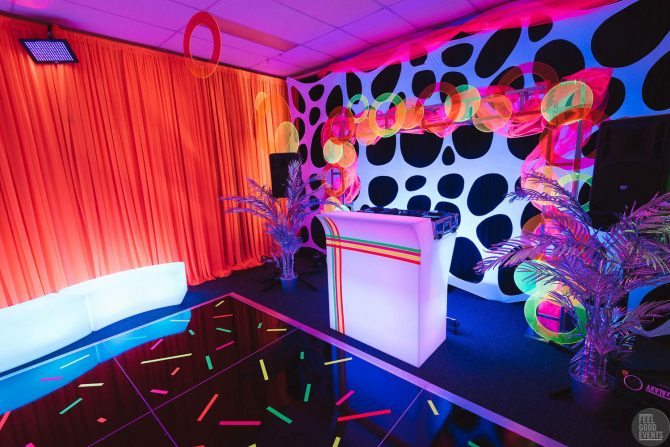 DJ Station and dance floor hire melbourne neon theme