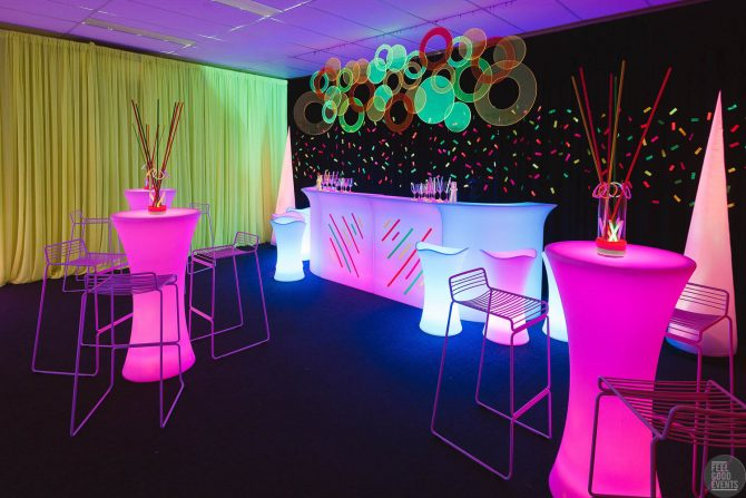 Glowing furniture hire for neon themed event melbourne