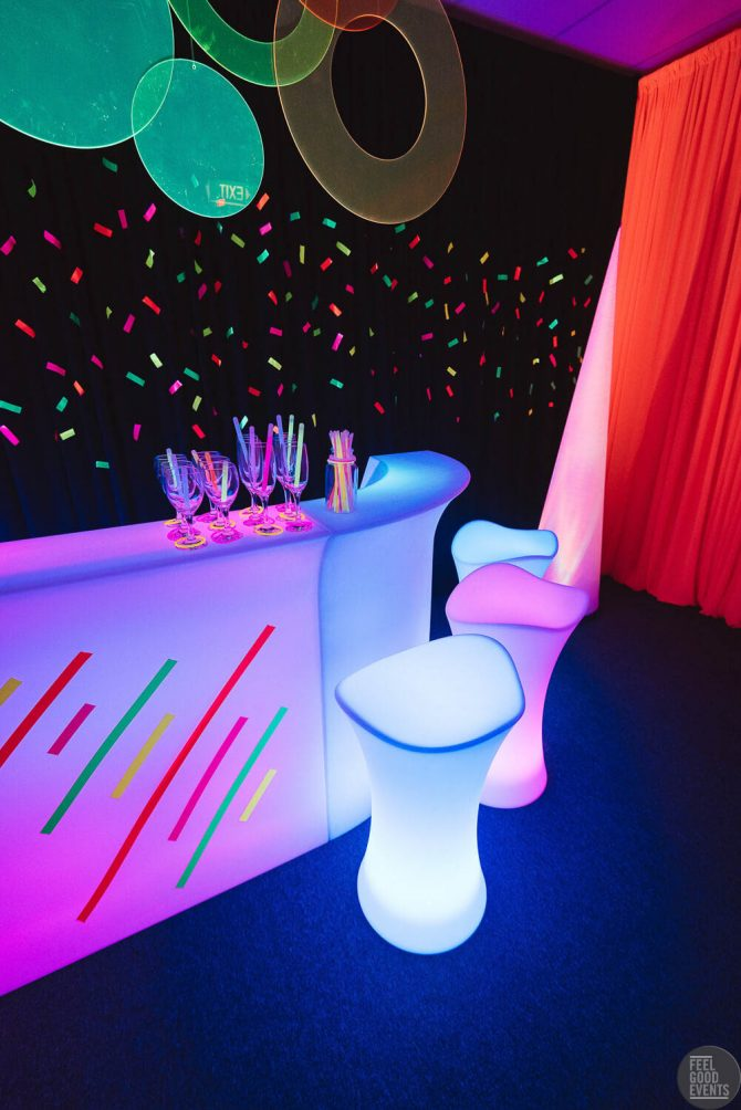 Illuminated Bar Seat Hire Melbourne at Neon Themed Event