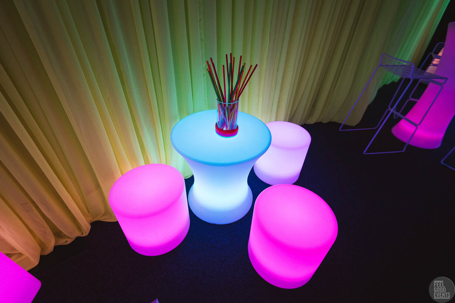 Illuminated Stools and Table for Hire Melbourne in Glowing Centerpiece