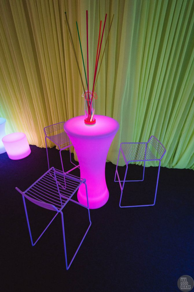 Light Up Bar Table and Wire Furniture Hire Melbourne