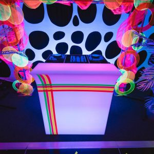 Neon Fluro Themed DJ Booth Hire Melbourne