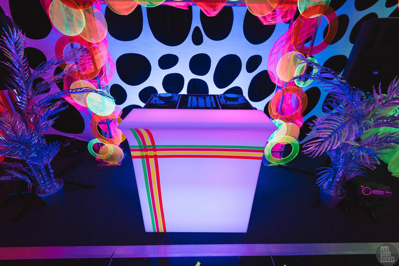 Neon Fluro Themed DJ Booth Hire Melbourne