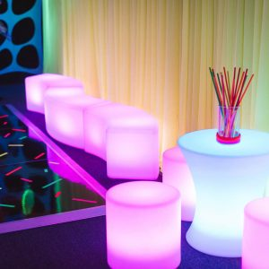 Purple Glowing Furniture infront of drape hire melbourne