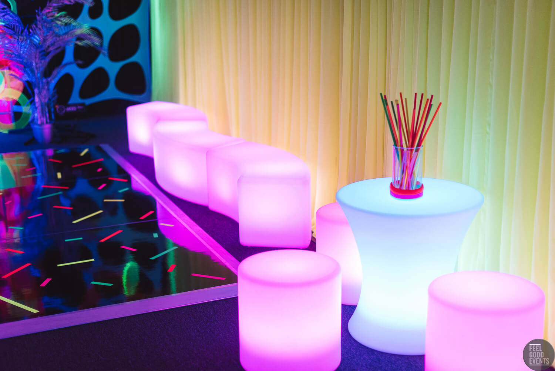 Purple Glowing Furniture infront of drape hire melbourne