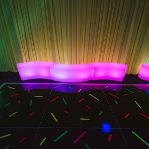 Purple and Blue Glowing Furniture Hire Melbourne