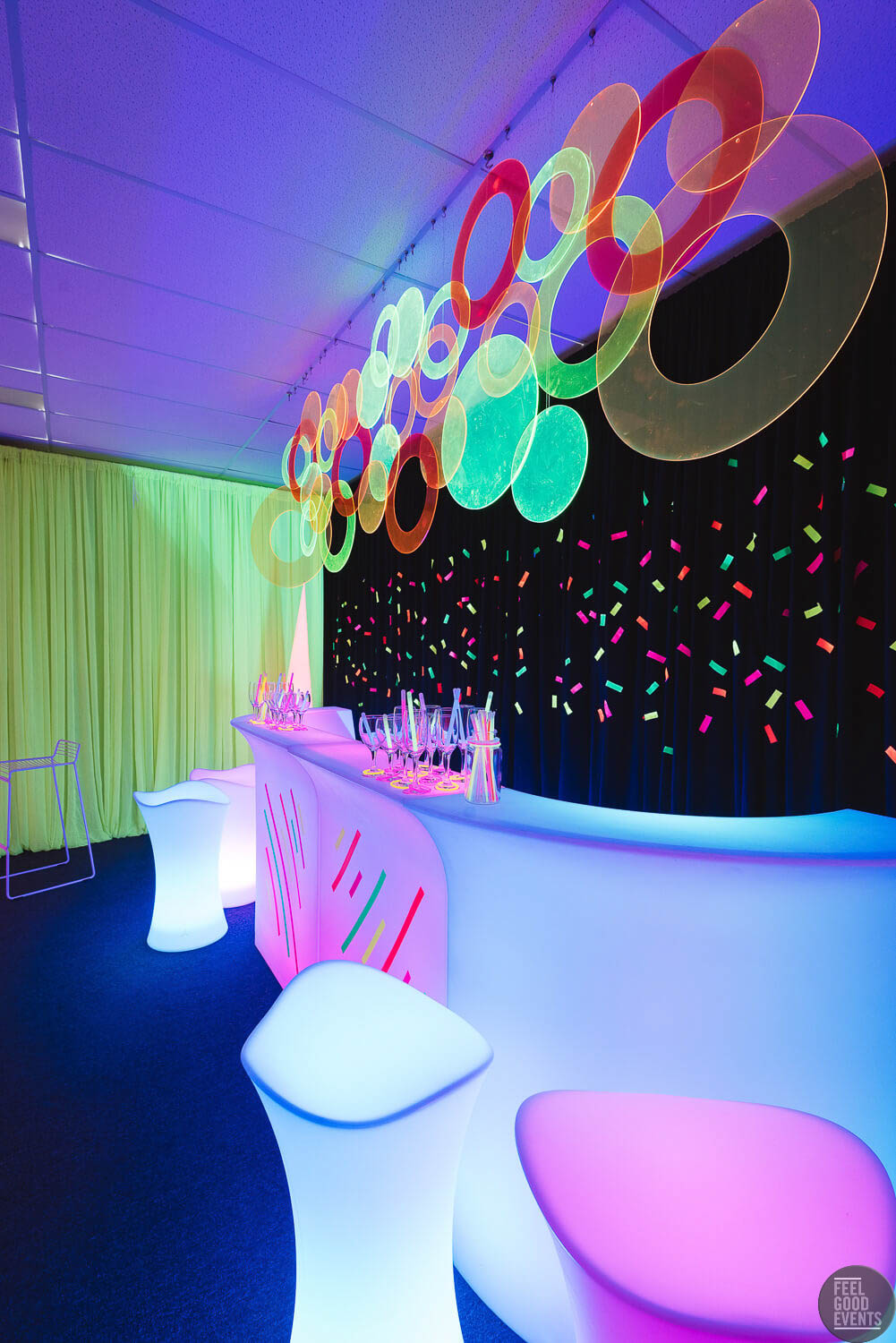 bar area setup with glowing furniture hire