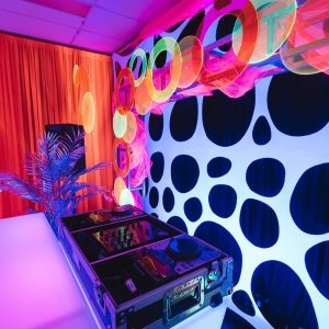 black spotted dj backdrop hire melbourne