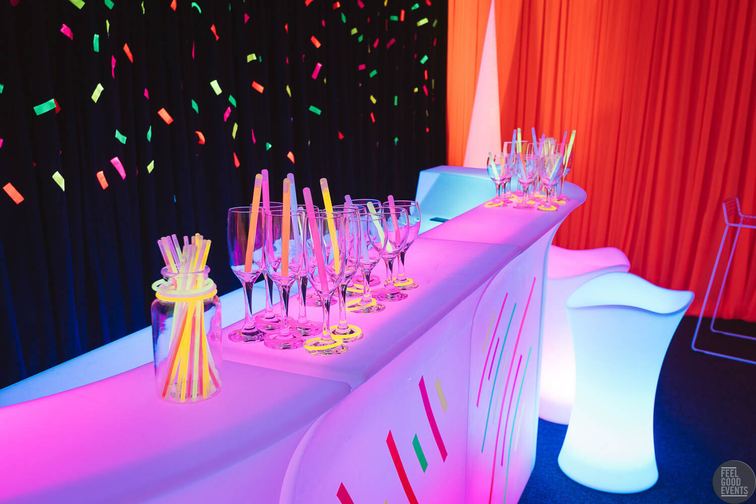 close up of glowing bar for hire melbourne