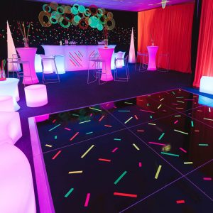 dance floor and bar area hire at 60s themed event melbourne