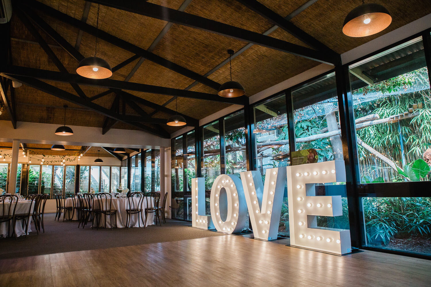 wedding hire side picture of light up love letters at melbourne zoo wedding venue