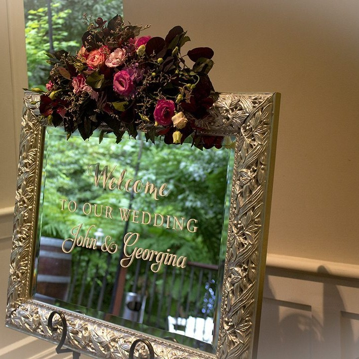 welcome wedding sign silver mirror