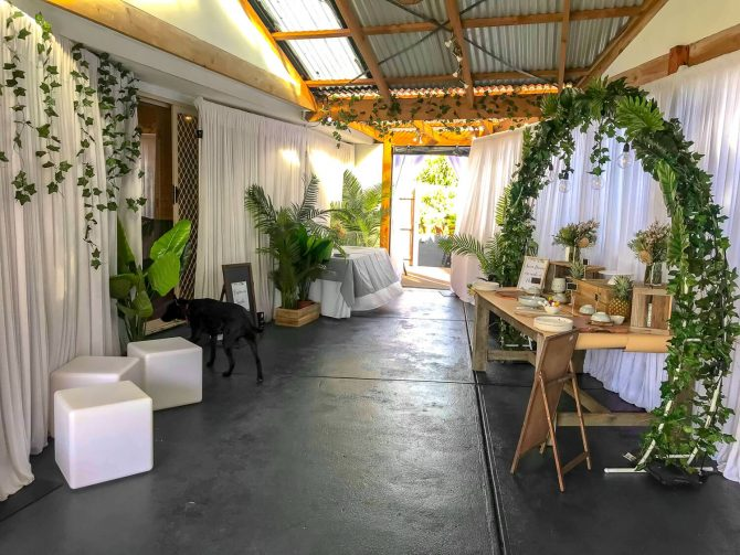 White and green themed event melbourne hire