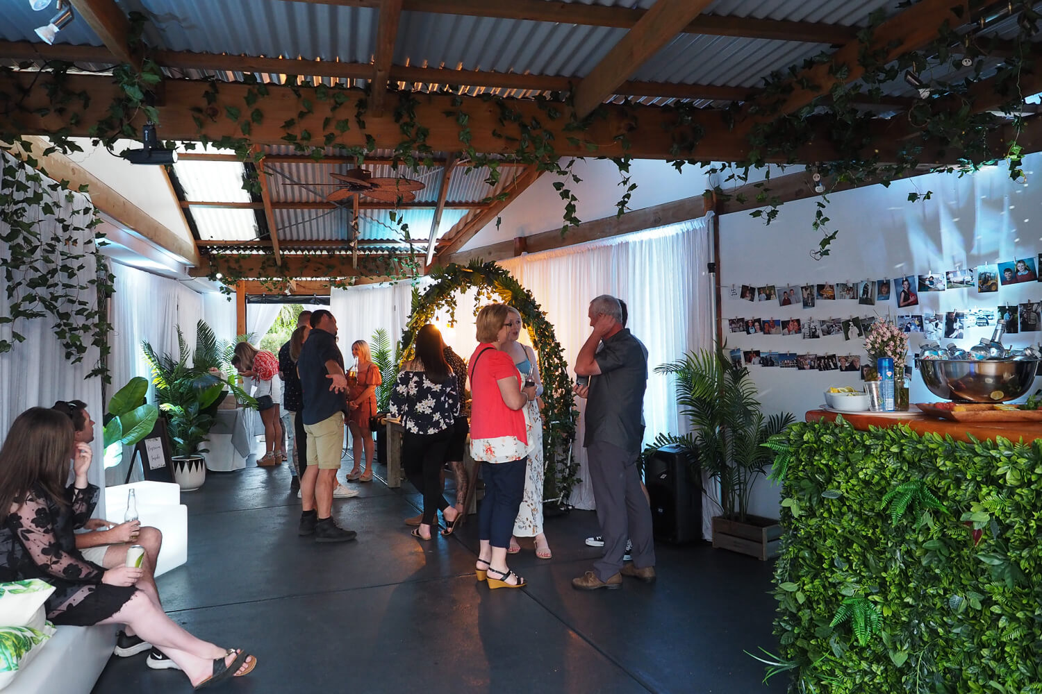 white and green engagement party hire melbourne
