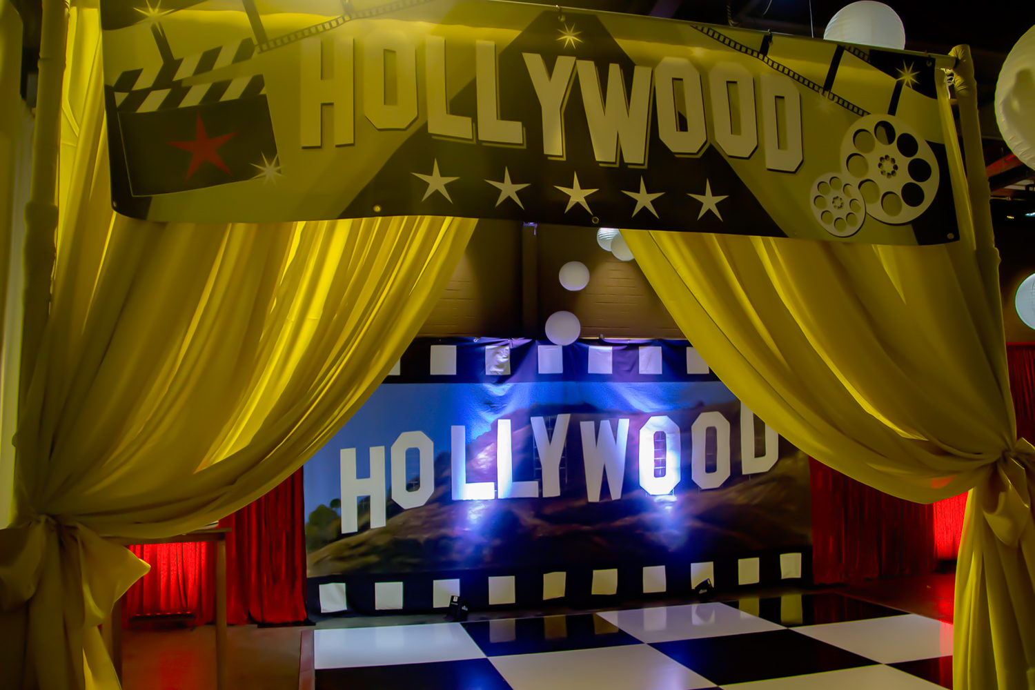 Hollywood Entrance with draping and uplighting Melbourne