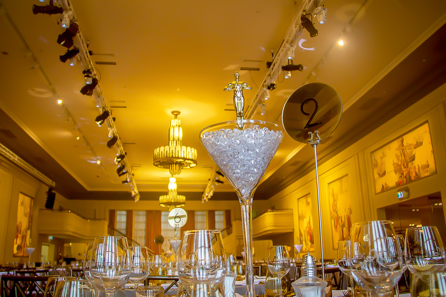 Low angle shot of hollywood style centrepiece for hire melbourne