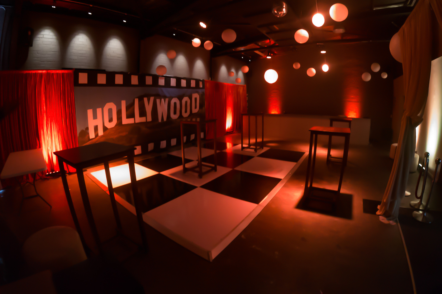 Hollywood Red Carpet Backdrop with uplighting.