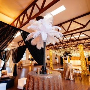 the great gatsby party setup hire melbourne close up of white feather vase