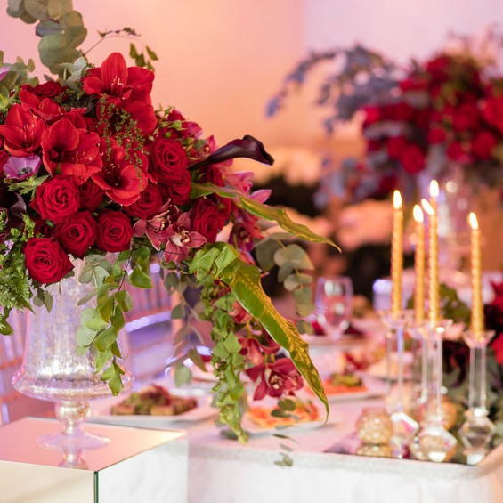 floral display on a table for a wedding