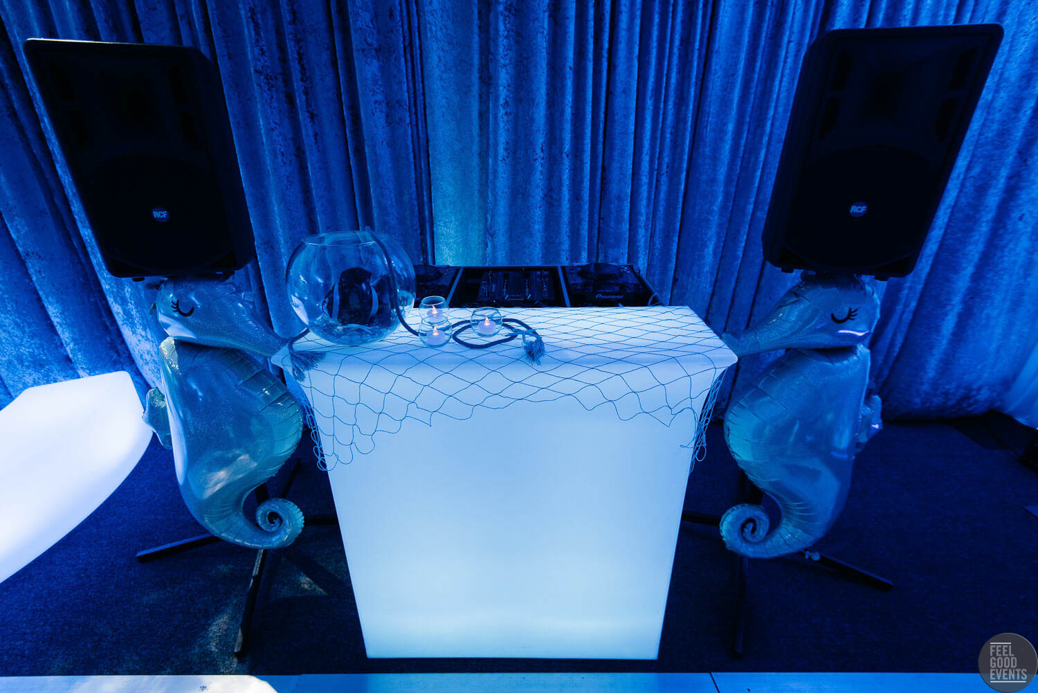 DJ Booth Covered In Underwater Theme Hire Melbourne