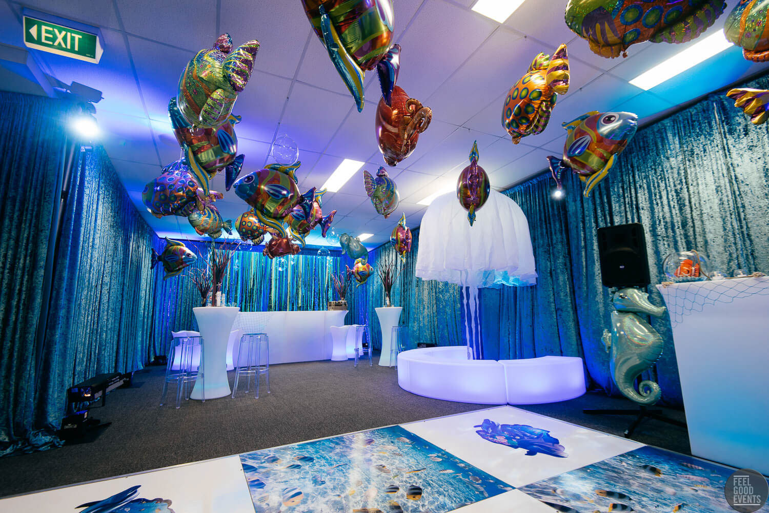 Event Space Makeover Under The Sea Theme With Prop and Drape Hire