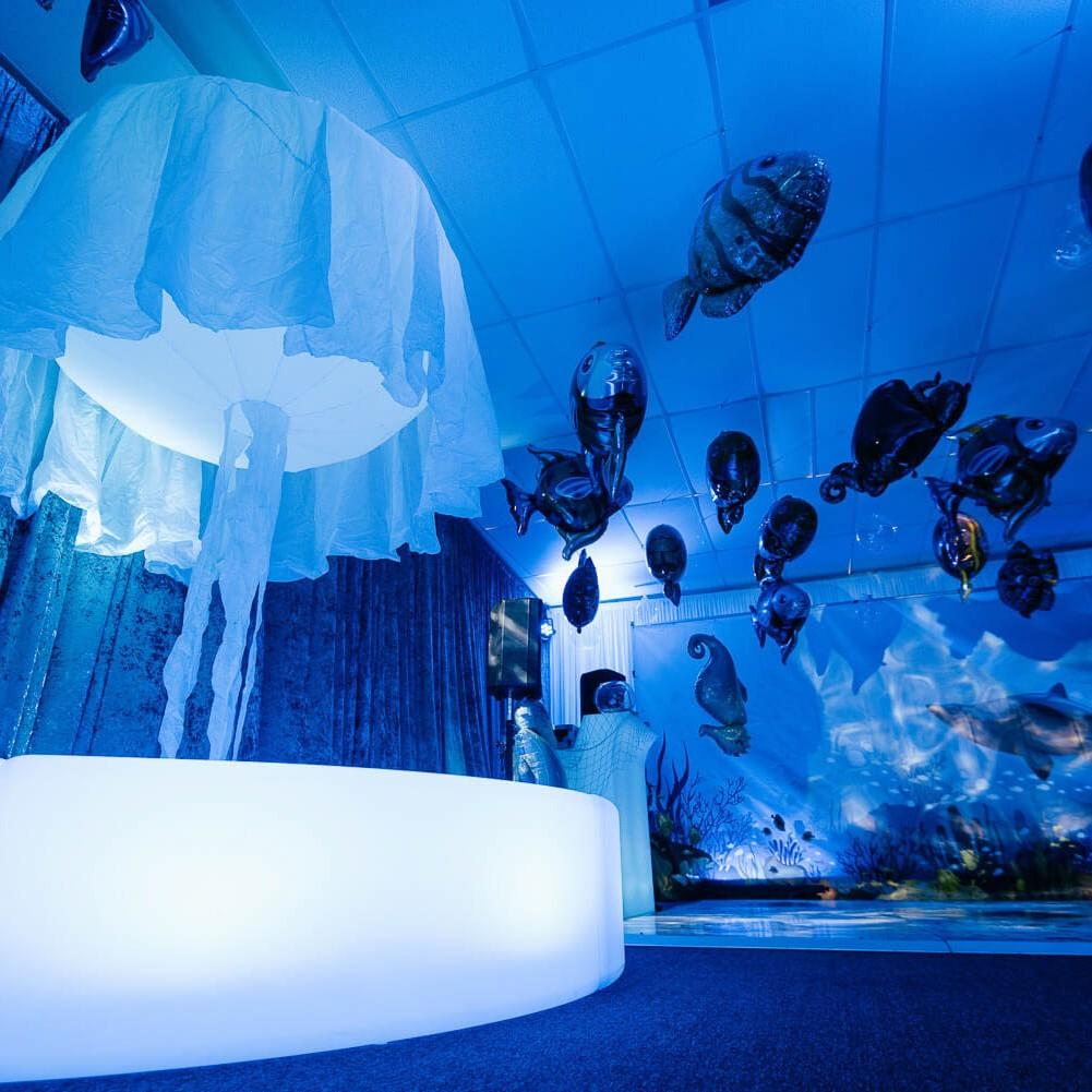 Giant jellyfish prop next to dance floor hire melbourne