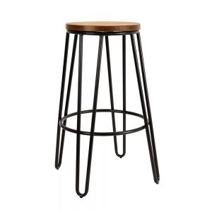 Tall Black Timber Hairpin Stool