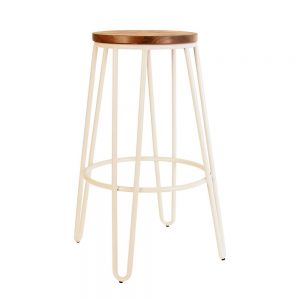 White Timber Hairpin Stool