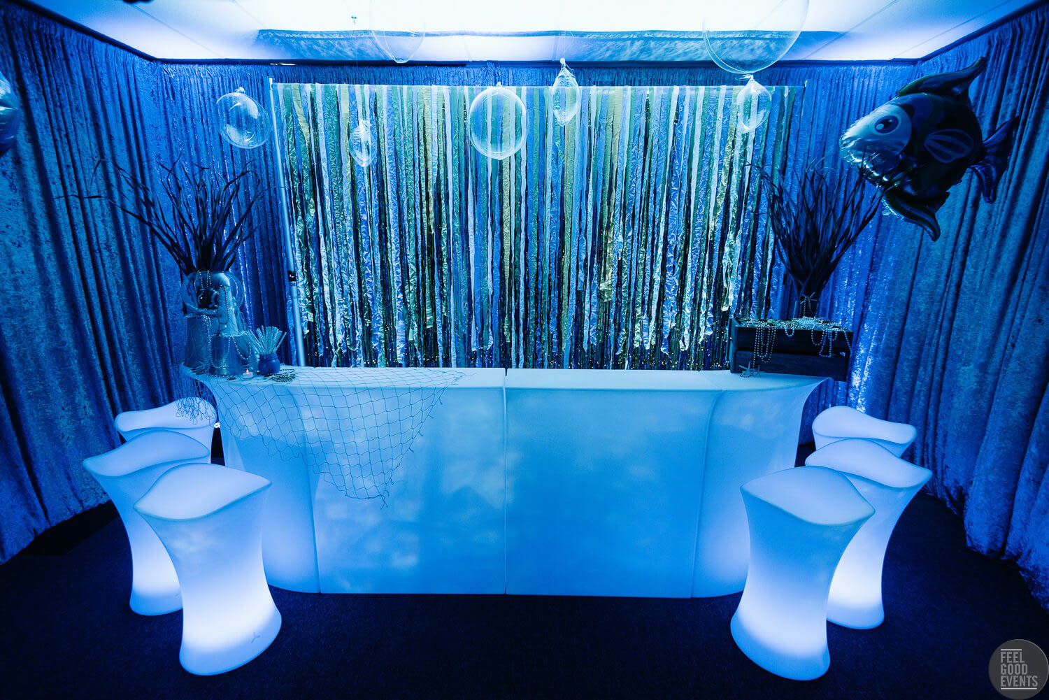 Light Up Bar Hire In Blue Underwater Theme Melbourne