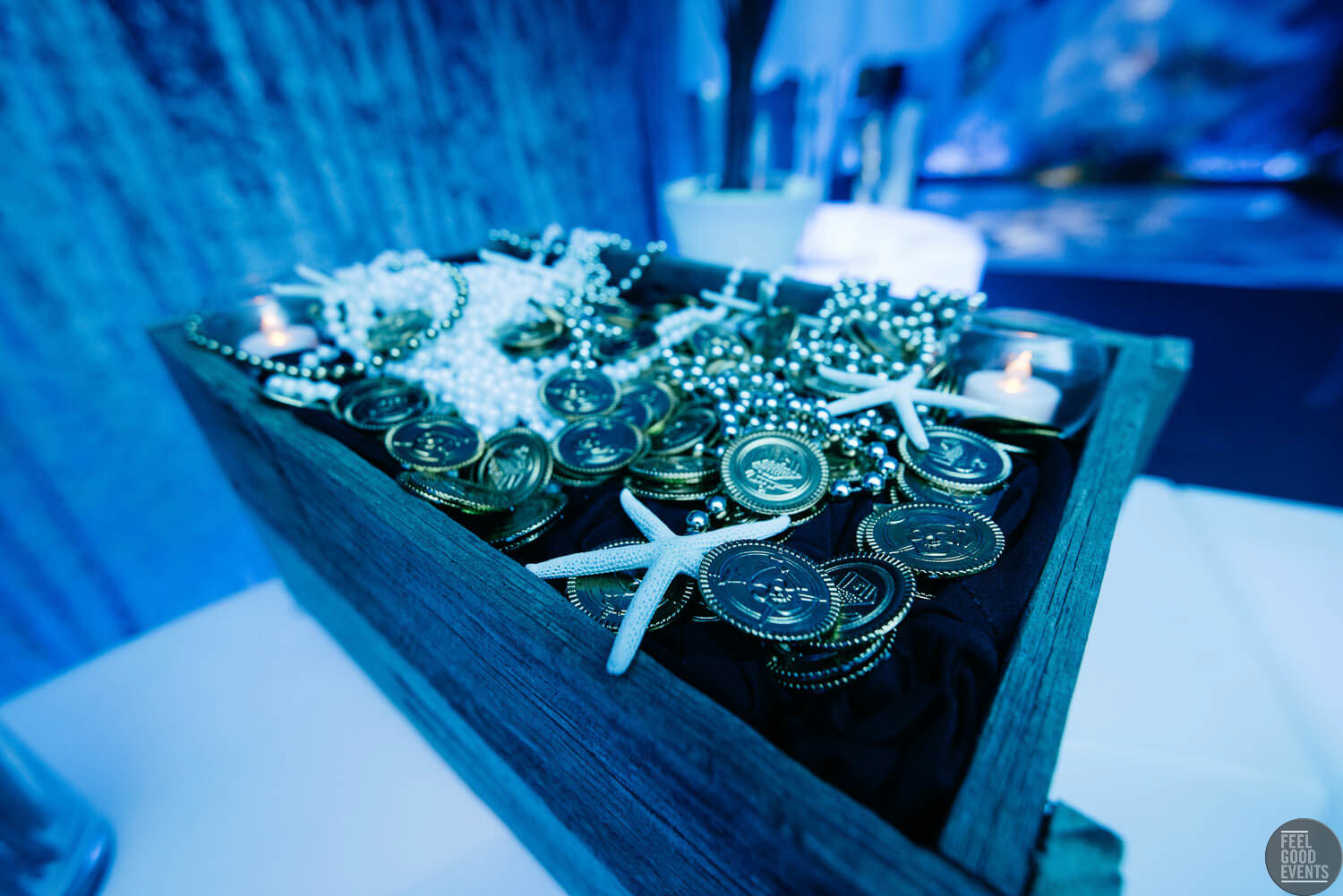 Treasure Chest with coins and Starfish Hire Melbourne