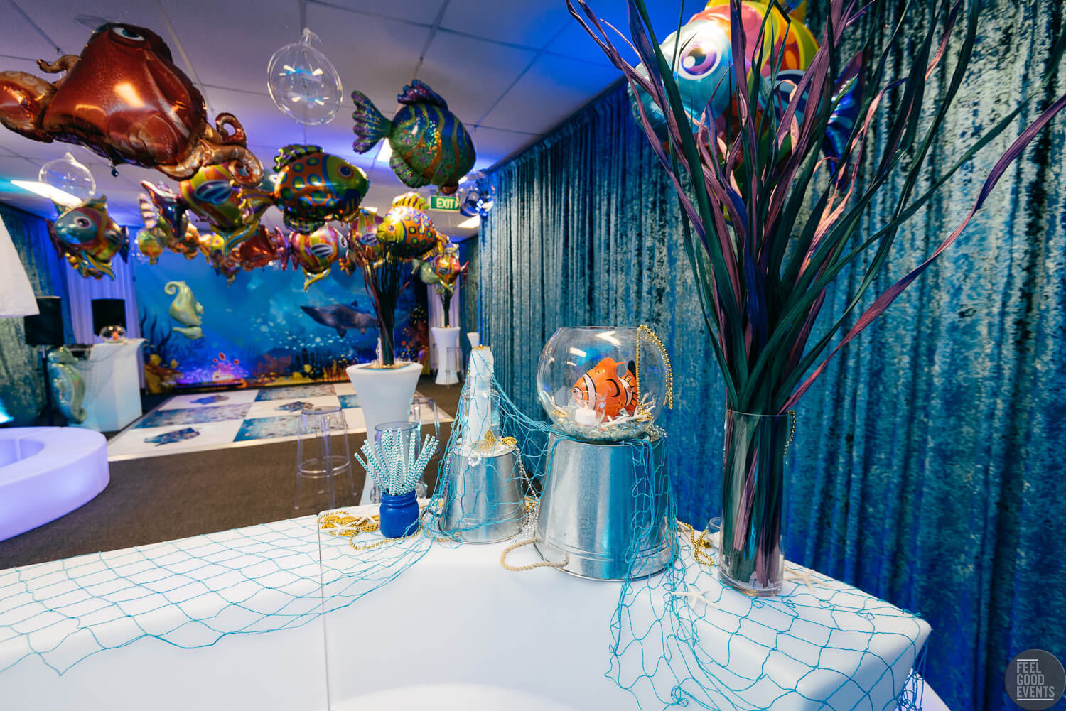 Under Water Themed Props Behind Bar