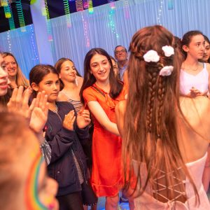 bat mitzvah celebration white draping on dance floor hire melbourne