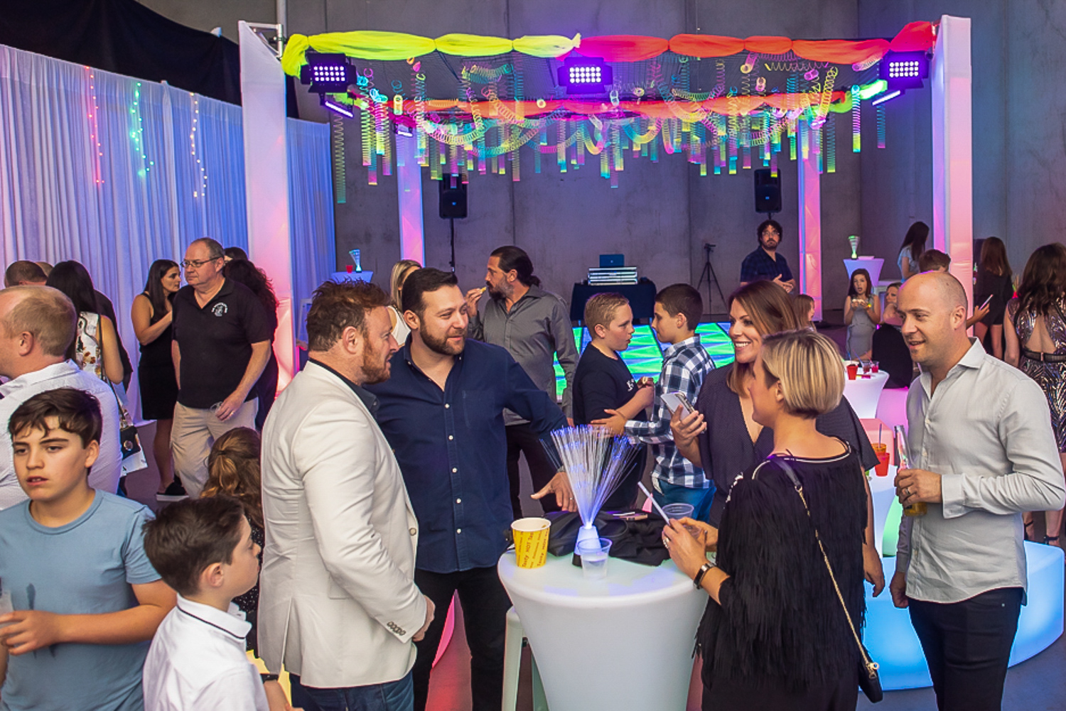 colourful party theme setup for bat mitzvah in melbourne feel good events
