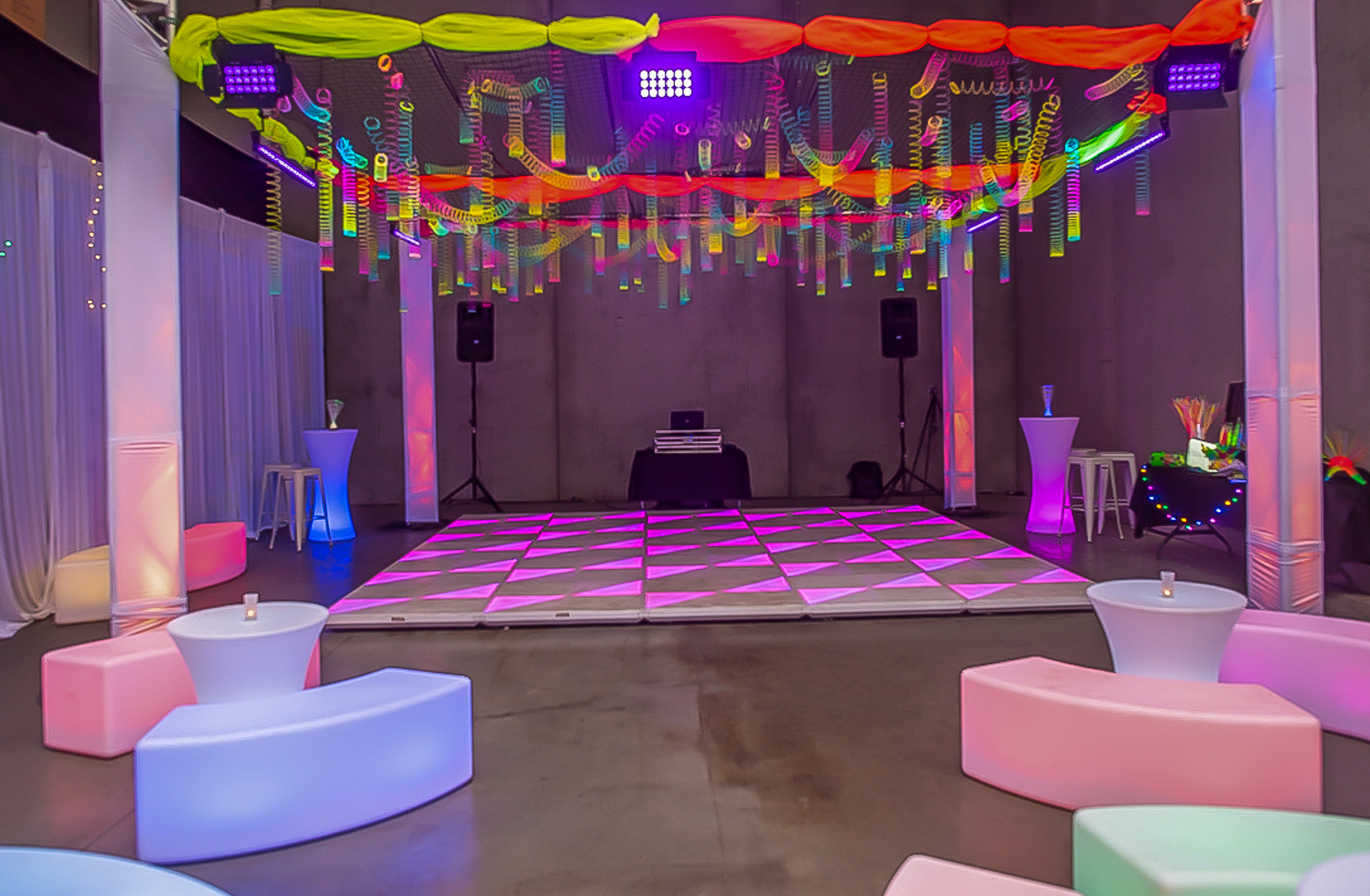 glowing furniture and dancefloor hire melbourne for bat mitzvah