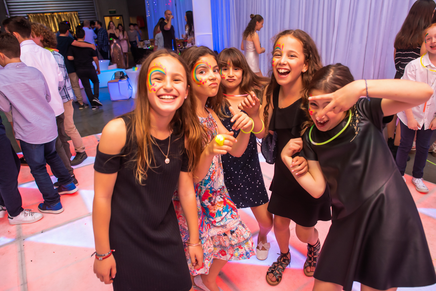 kids having fun on a hired glowing dance floor during jenna's bat mitzvah