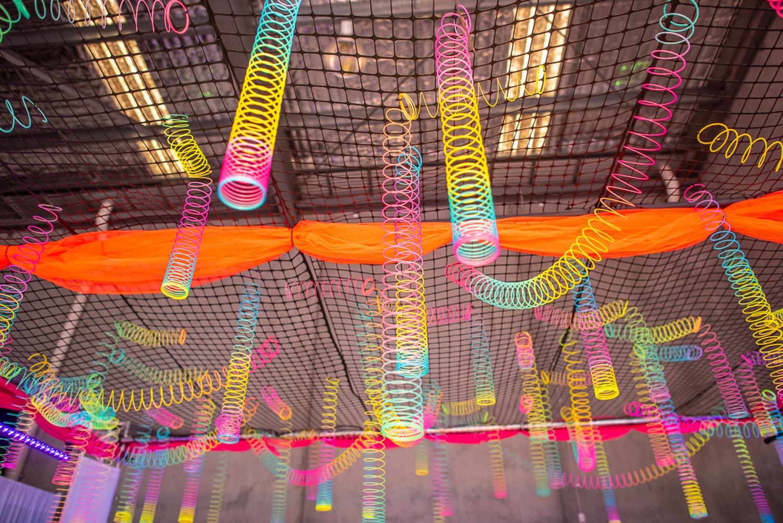 slinky arrangement above dance floor at batmitzvah melbourne